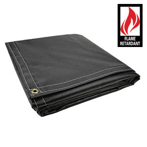 8 x 10 Black Certified Fire Retardant 18oz Vinyl Tarp
