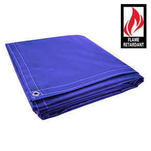 10 x 12 Blue Certified Fire Retardant 18oz Vinyl Tarp