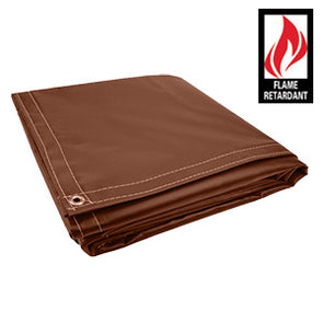 10 x 10 Brown Certified Fire Retardant 18oz Vinyl Tarp