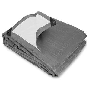 8 x 10 Super Heavy Duty Gray White Poly Tarp