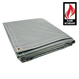 8 x 10 Grey Certified Fire Retardant 18oz Vinyl Tarp