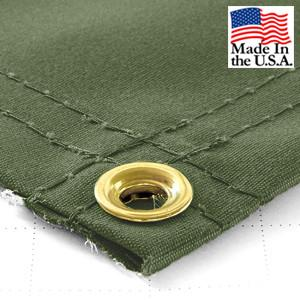 Super Heavy Duty Olive Synthetic Canvas Tarps - All Sizes - 14.5oz