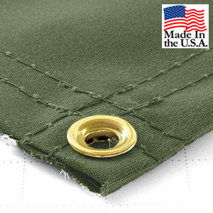 6 x 8 Olive 14.5oz IronHorse Synthetic Canvas Tarp