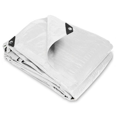 6 x 16 Heavy Duty White Poly Tarp