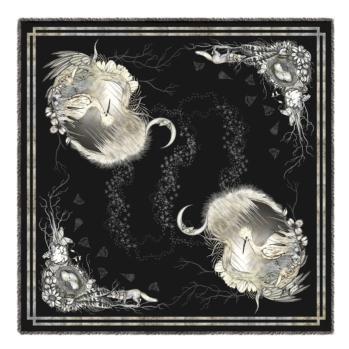 Egret Cameo silk and modal blend square scarf signature design by Louise Coleman