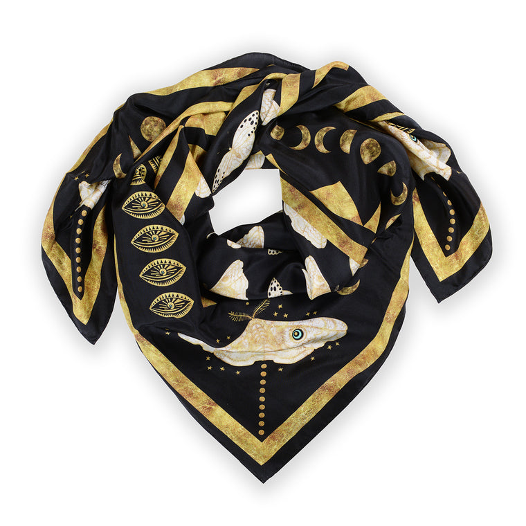 Gold Moth Silk Scarf