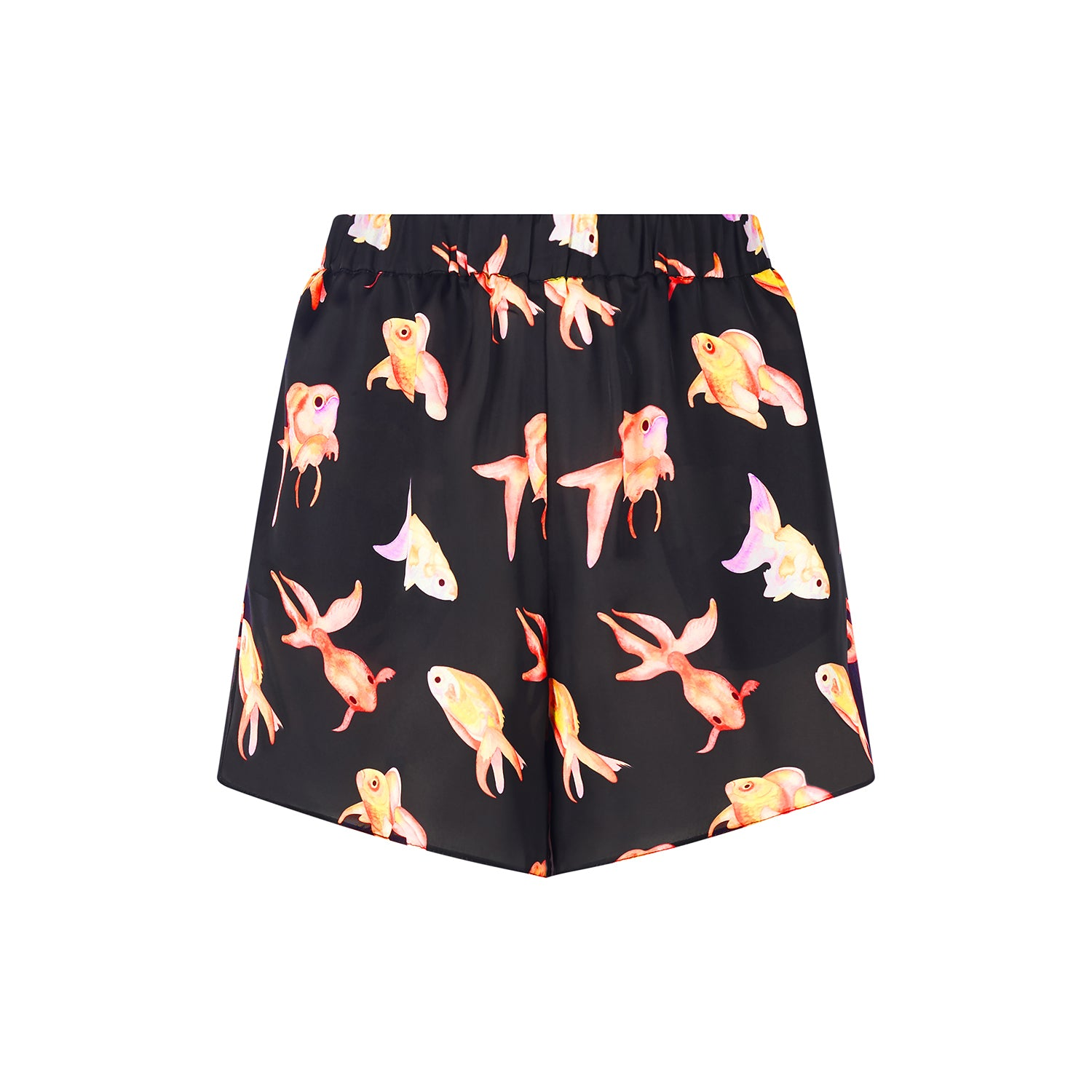 Goldfish shorts featuring a pretty hand painted fish design by Louise Coleman