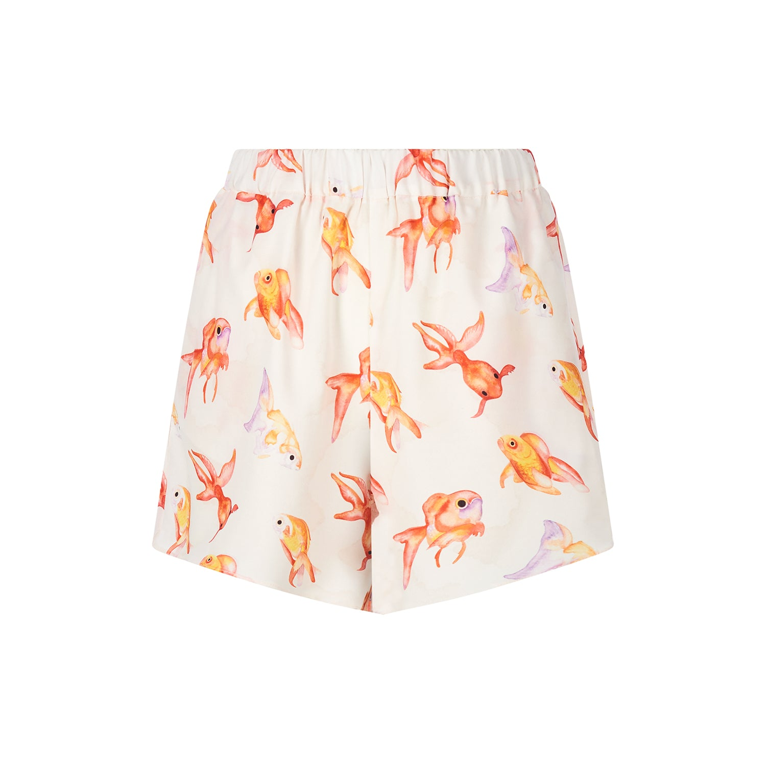 Ivory goldfish shorts featuring a pretty hand painted fish design by Louise Coleman