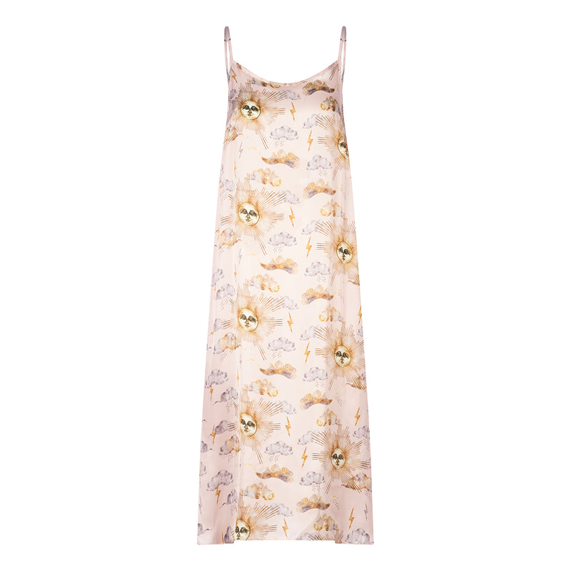 Sun printed midi slip dress featuring detailed hand illustrated of a mystical sun god by Louise Coleman.