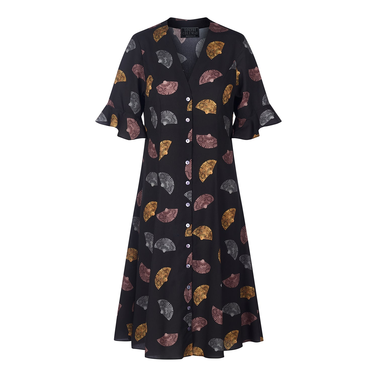 Kanazawa fan print button front mini dress by Louise Coleman.