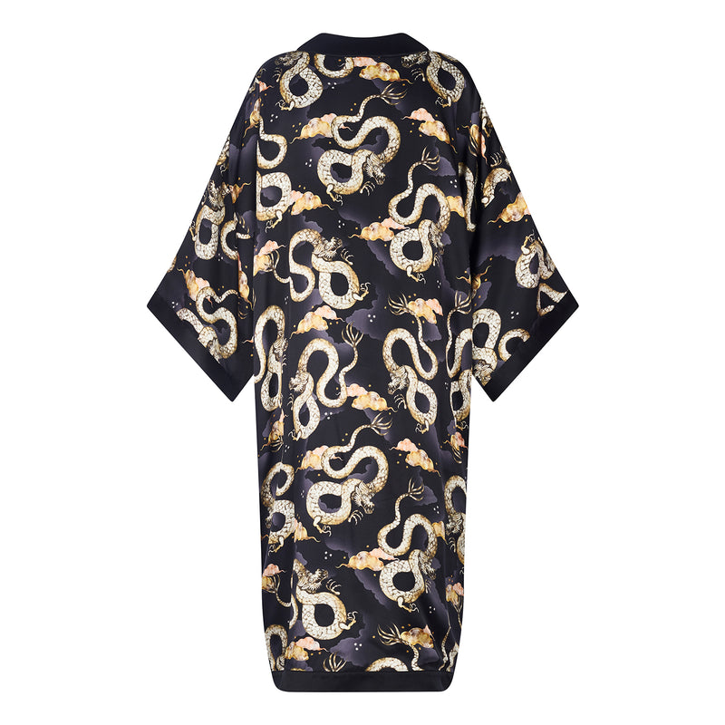 Magic Dragon print silk reversible long kimono jacket in navy colourway by Louise Coleman