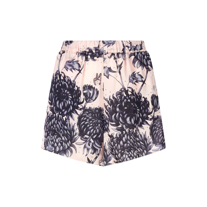Gure Kiku shorts featuring detailed hand illustrated pink and grey floral print by Louise Coleman