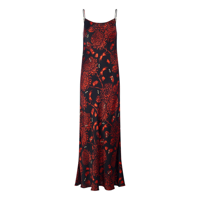 Akai Kiku silk satin bias cut maxi slip dress in red floral print by Louise Coleman