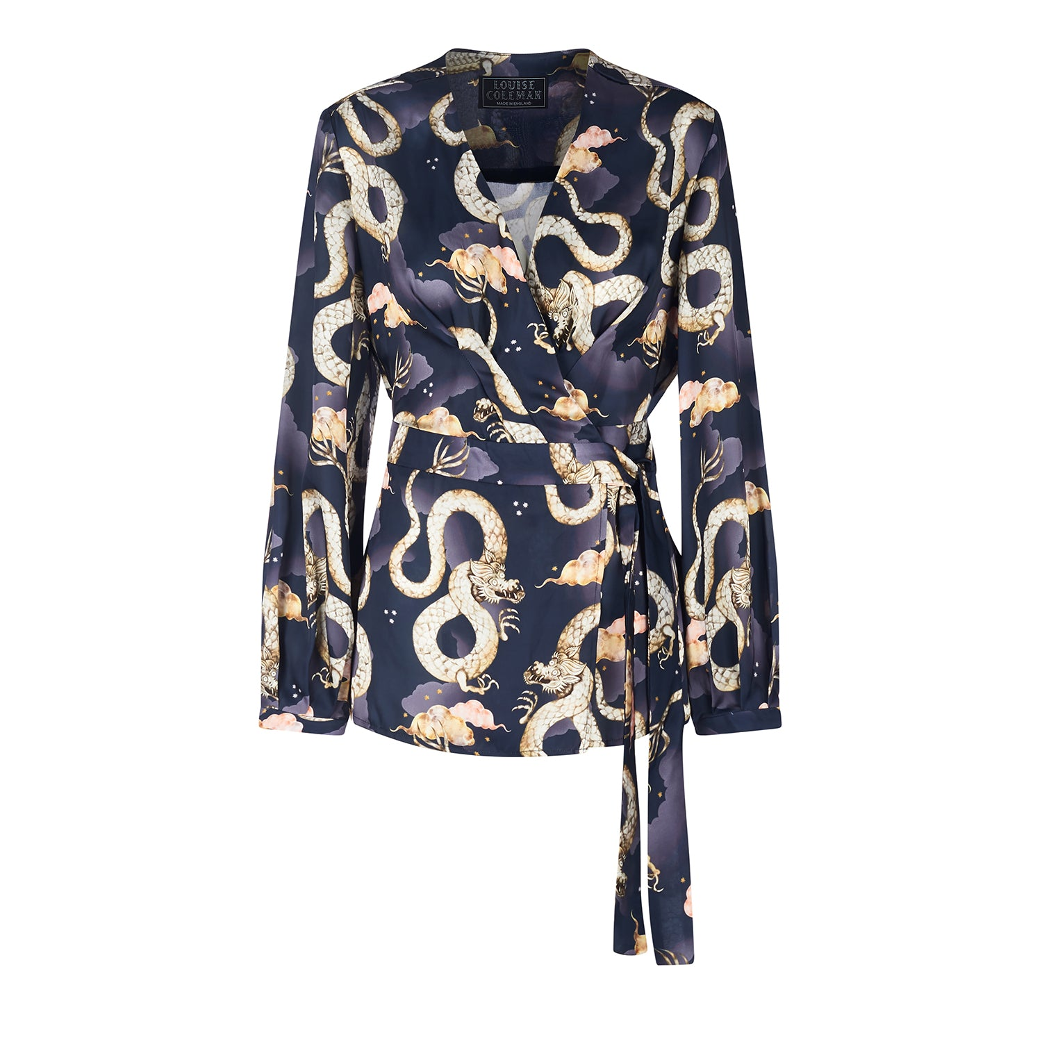 Midi wrap dress in navy Magic Dragon print by Louise Coleman