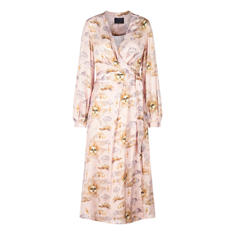 Midi wrap dress in pale pink Sun Man print by Louise Coleman