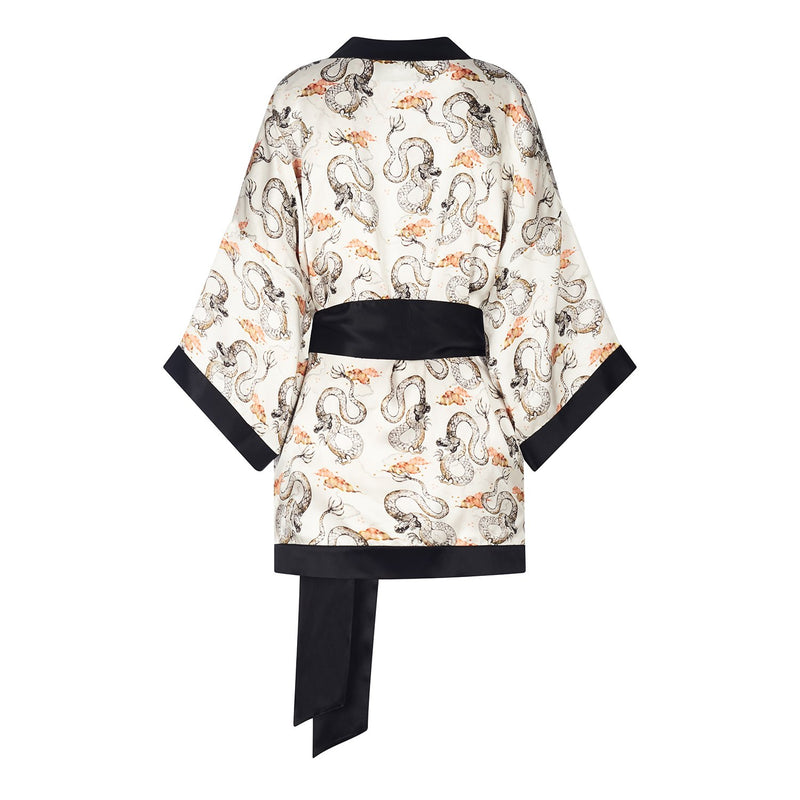 Dawn Dragon print silk reversible kimono jacket in cream colourway by Louise Coleman