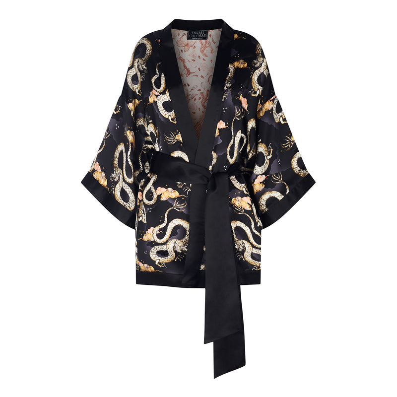 Magic Dragon print silk reversible kimono jacket by Louise Coleman