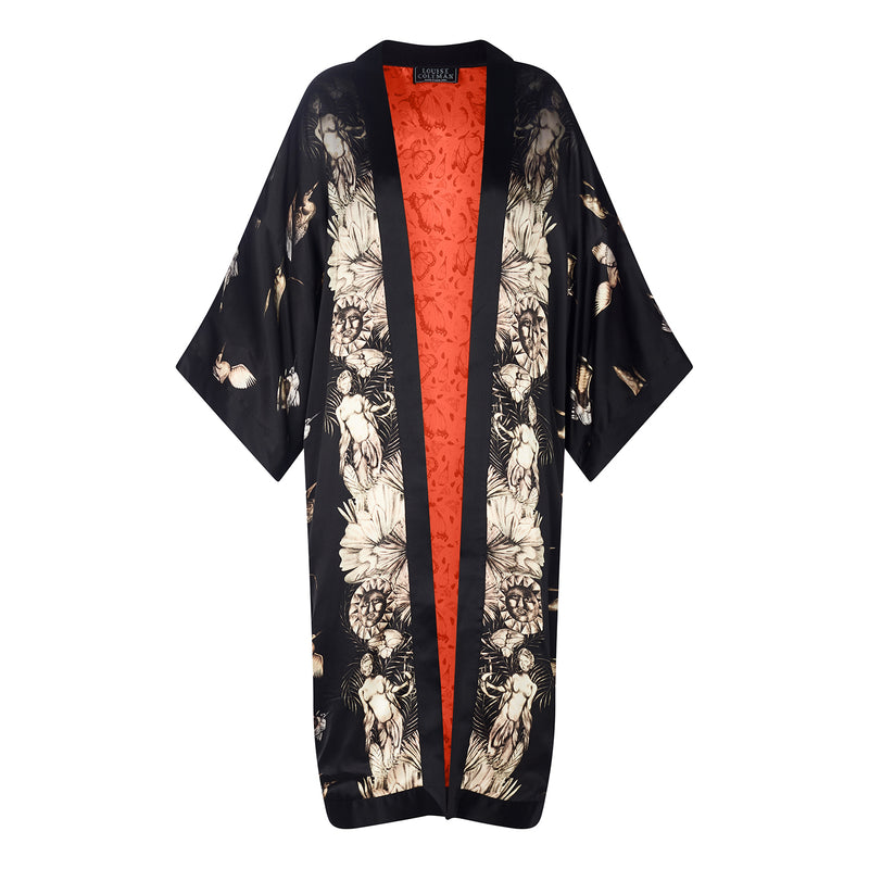 Egret Cameo print silk reversible long kimono jacket by Louise Coleman