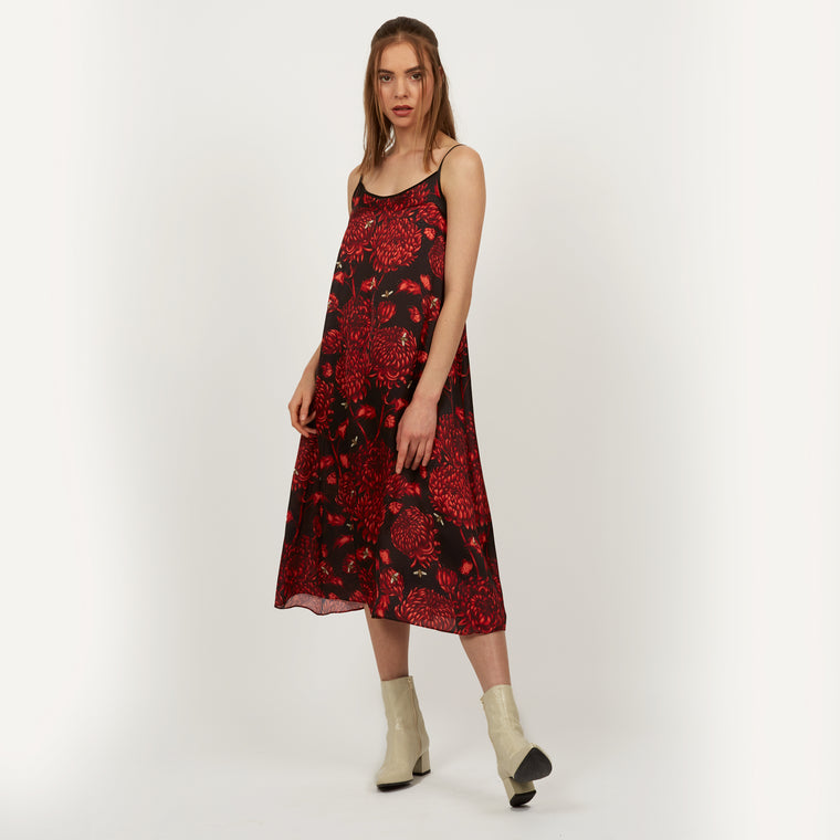Akai Kiku printed midi slip dress featuring detailed hand illustrated floral chrysanthemum design by Louise Coleman