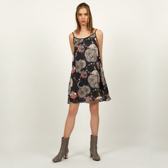 Gion floral lantern print strappy slip dress by Louise Coleman.