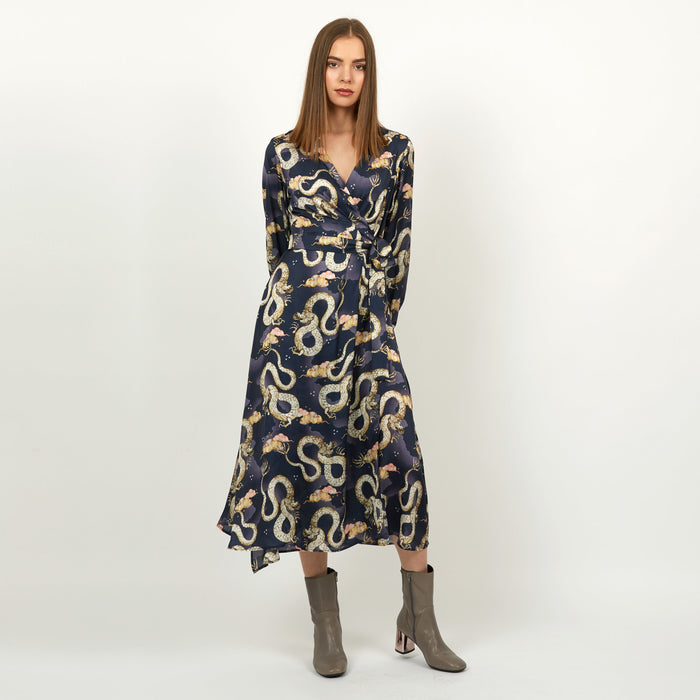 Midi wrap dress in Magic Dragon print by Louise Coleman