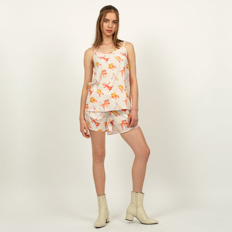 Goldfish printed camisole top featuring a hand painted fish design by Louise Coleman.