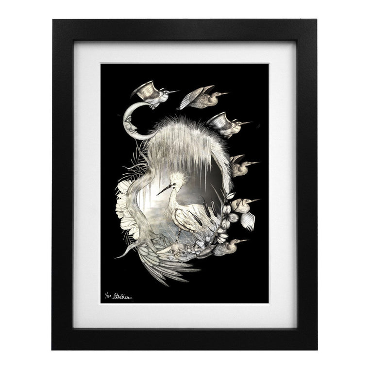 Limited Edition Egret Cameo Art Print