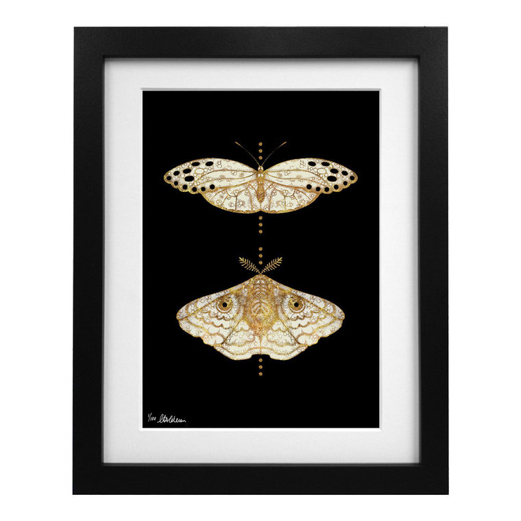 Limited Edition Gold Moths Duo Art Print