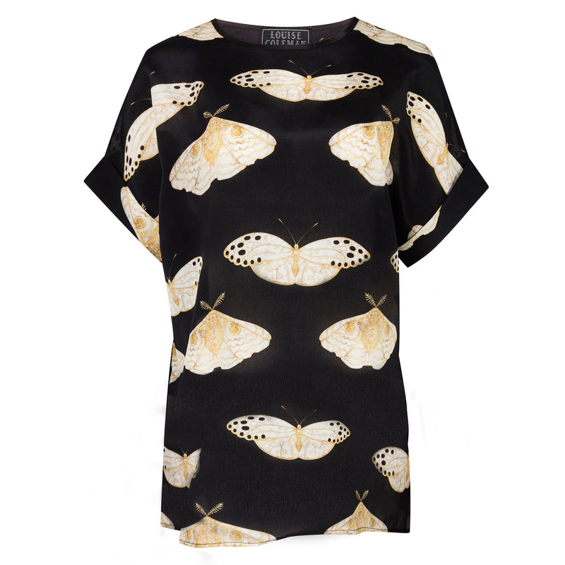 Silk moth print T-shirt top with turn-up sleeves, relaxed tunic style fit and crew neck by Louise Coleman