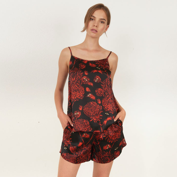 Akai Kiku printed camisole top featuring detailed hand illustrated floral chrysanthemum design by Louise Coleman