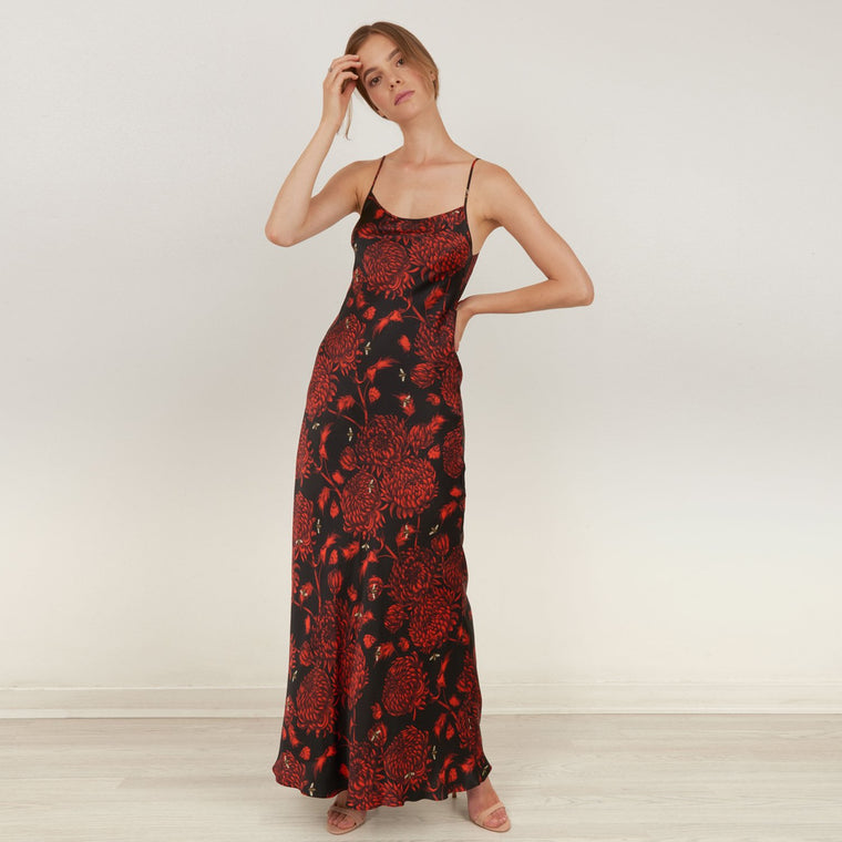 Akai Kiku silk satin bias cut maxi slip dress by Louise Coleman