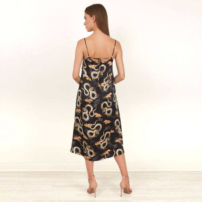 Magic Dragon printed midi slip dress featuring detailed hand illustrated of a mystical dragon design by Louise Coleman