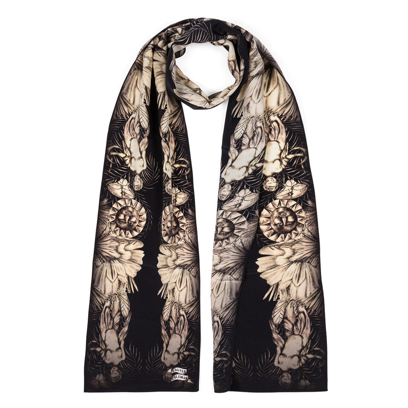 Garden skinny scarf featuring a hand illustrated English garden inspired design by Louise Coleman