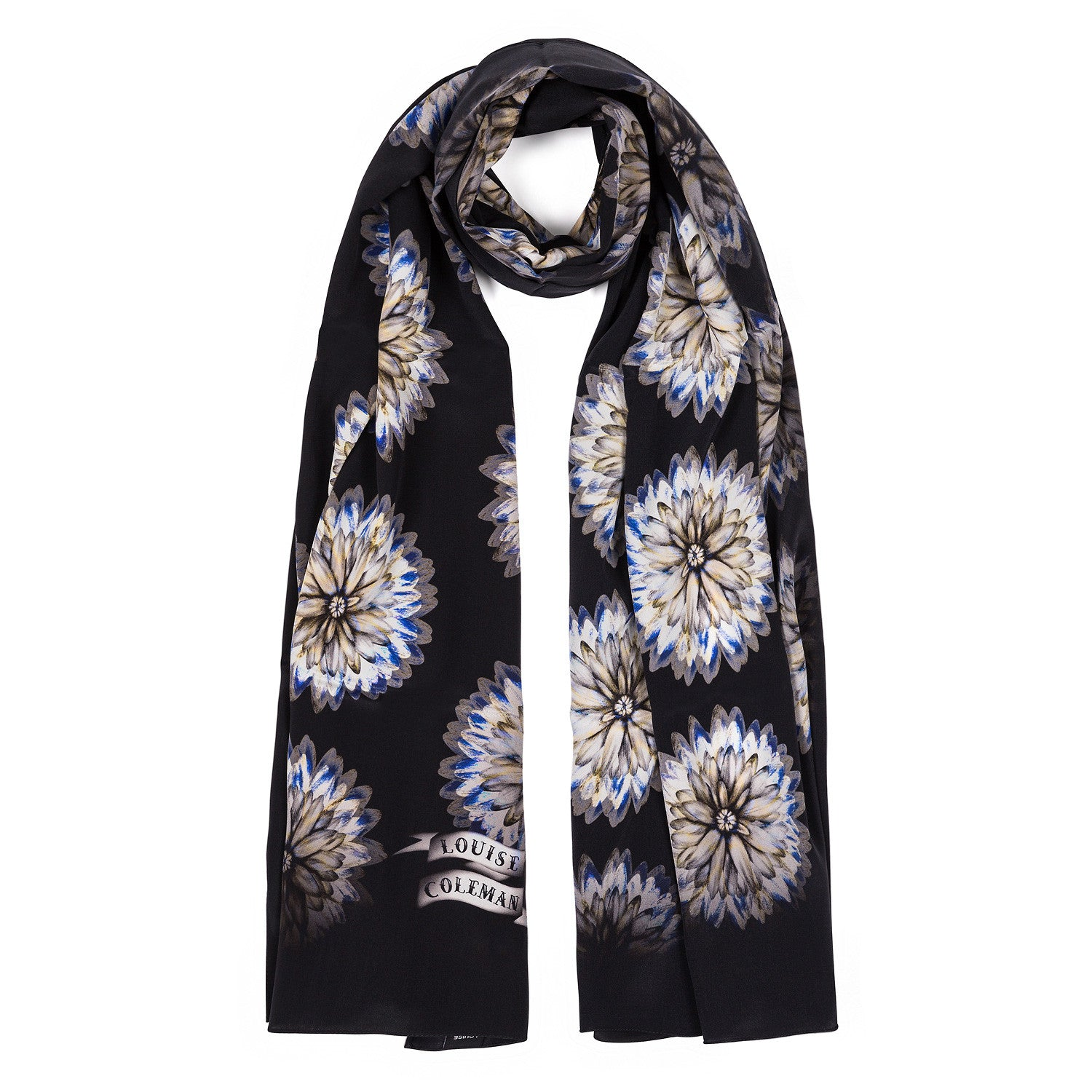 Daisy long silk scarf featuring hand illustrated daisy print by Louise Coleman