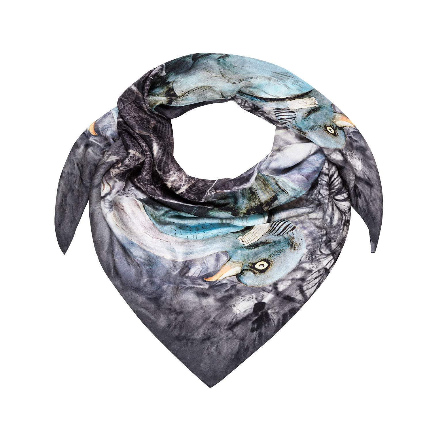 Nesting silk square scarf in a hand painted pigeon print by Louise Coleman