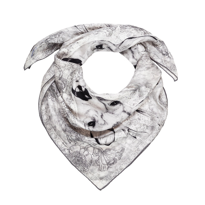 The Forest Prince silk square scarf in young roe stag print by Louise Coleman