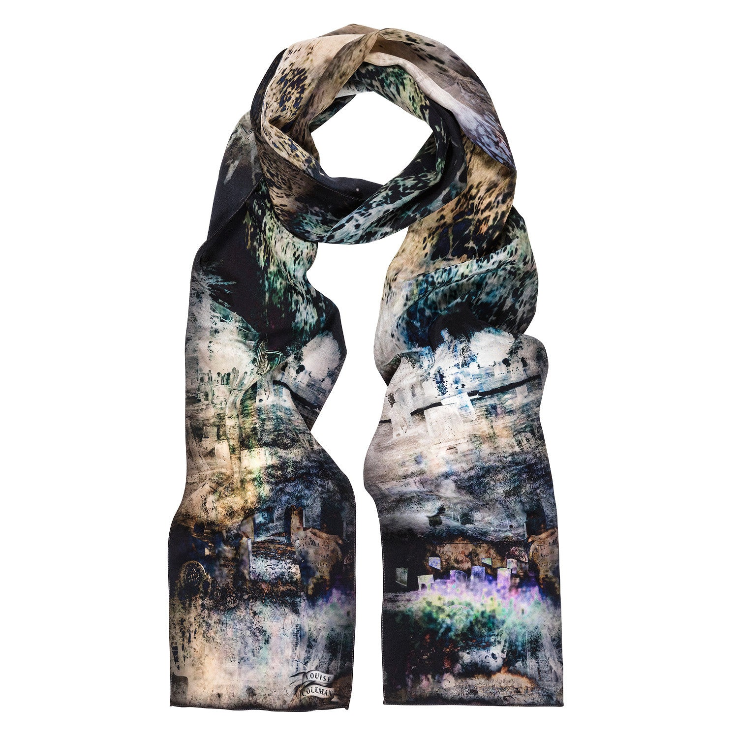 Shadowlands skinny silk scarf featuring an enchanting abstract print by Louise Coleman