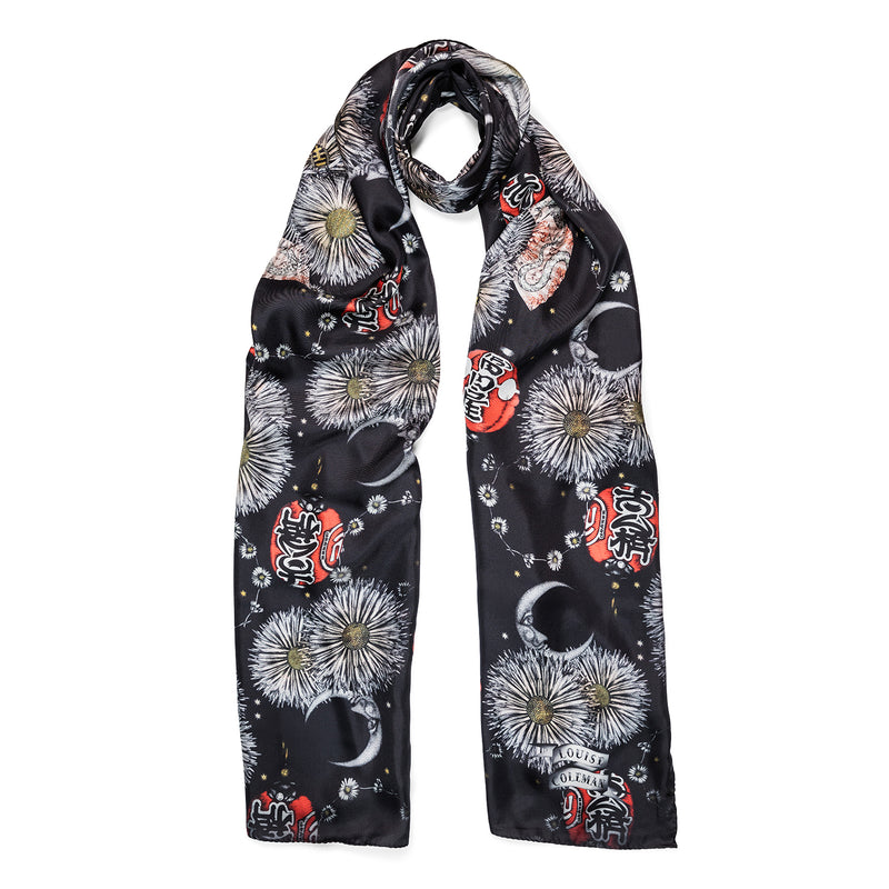 Gion long silk scarf in floral lantern print by Louise coleman