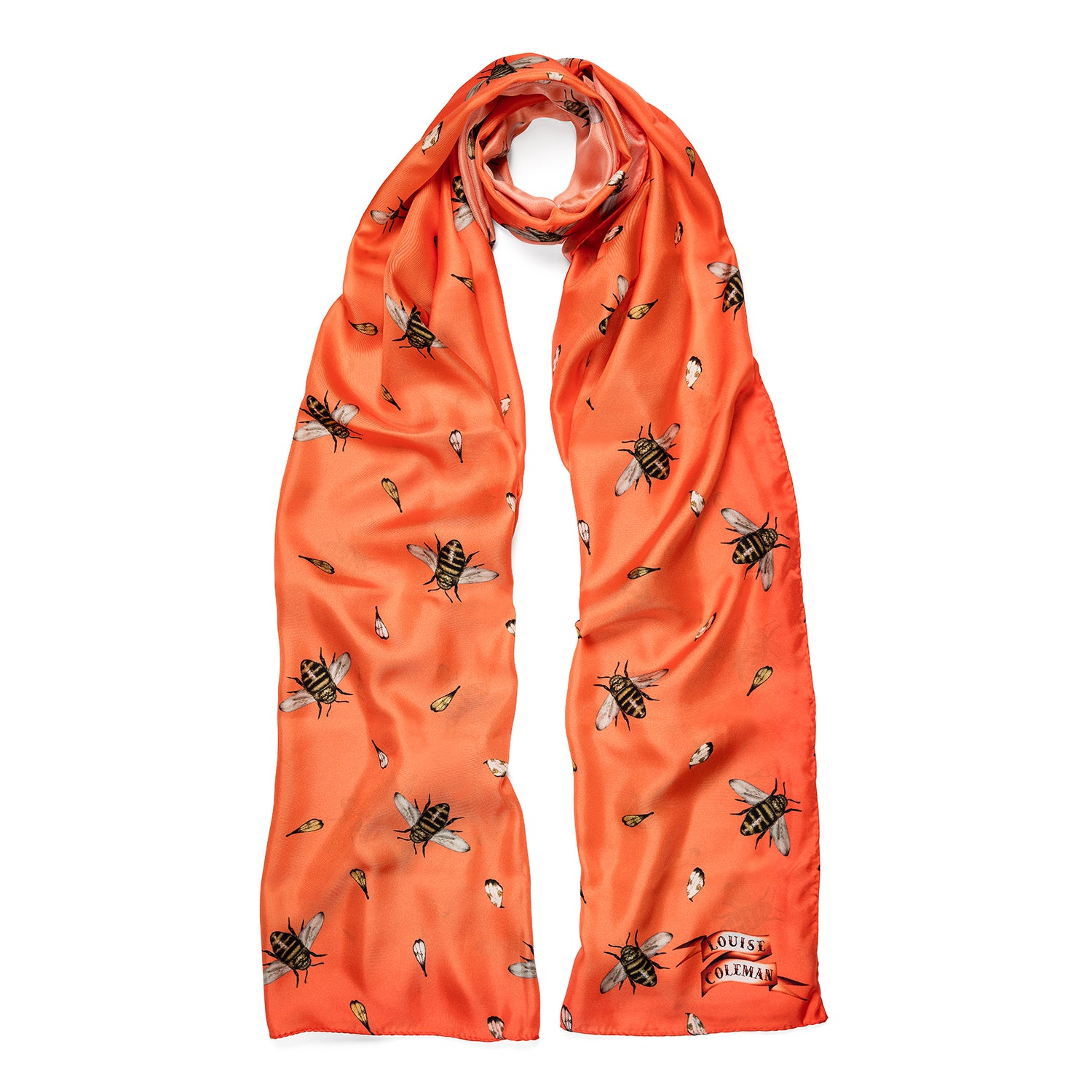 The orange Bertie silk bee print scarf in a large square shape by Louise Coleman