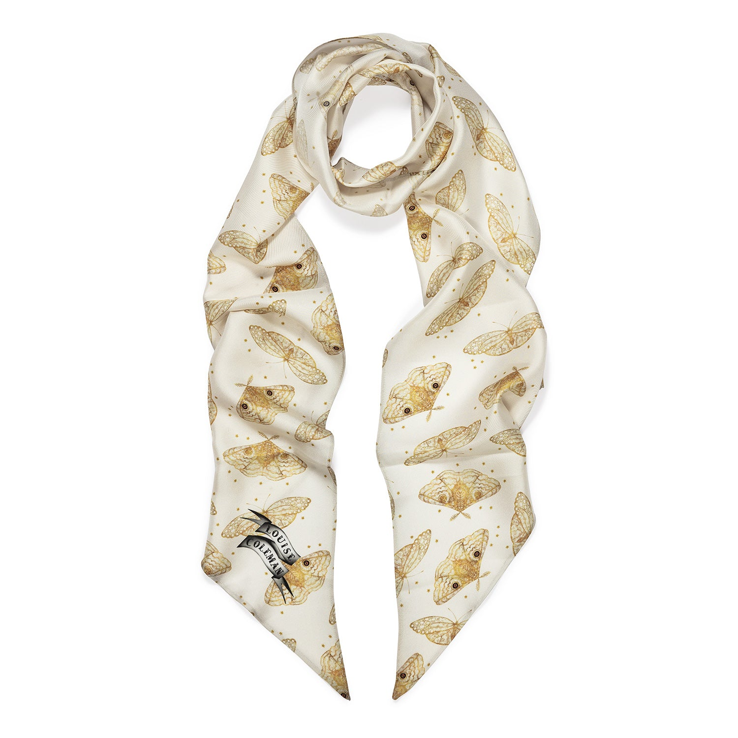 Ivory Moth black skinny silk scarf in hand illustrated moth print by Louise Coleman