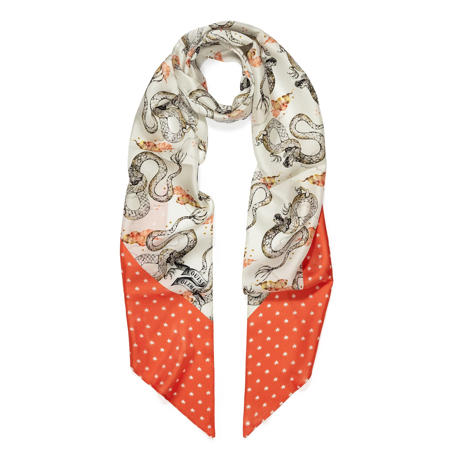Magic Dragon print skinny silk scarf in cream colourway with coral starry border by Louise Coleman