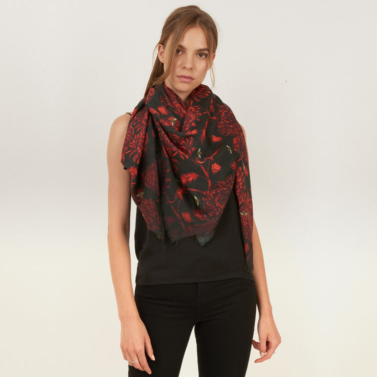 Akai Kiku silk and modal blend square scarf in red and black floral print by Louise Coleman
