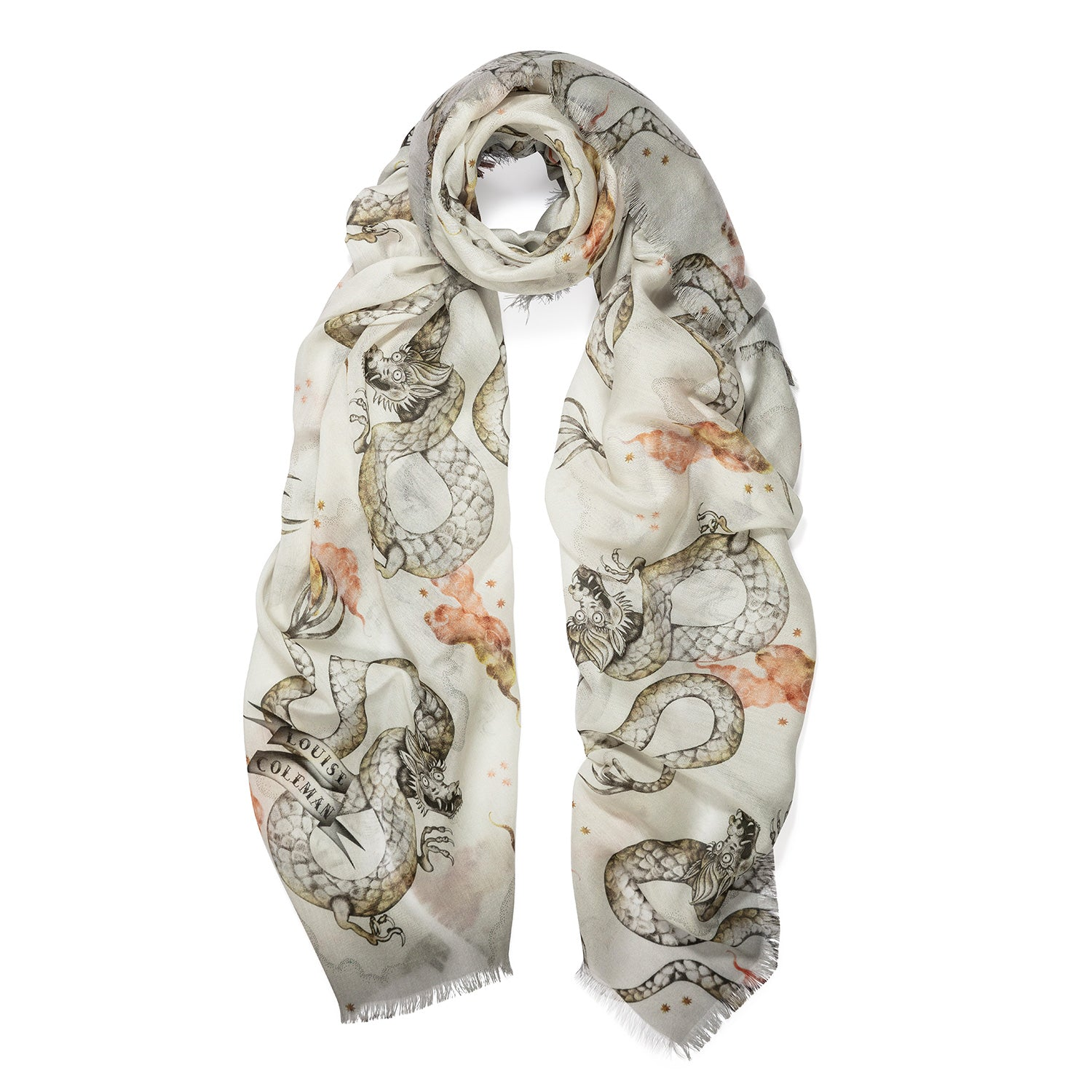 Magic Dragon Ivory Modal Scarf