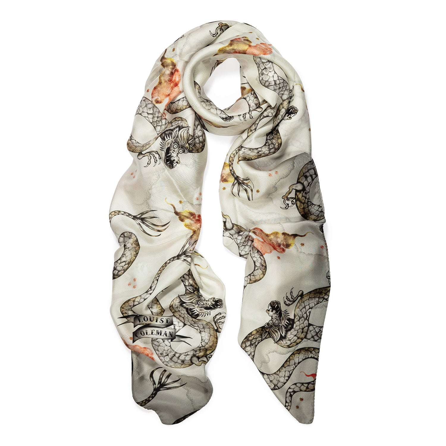 Magic Dragon silk square scarf featuring an intricate hand illustrated dragon print in ivory colourway by Louise Coleman