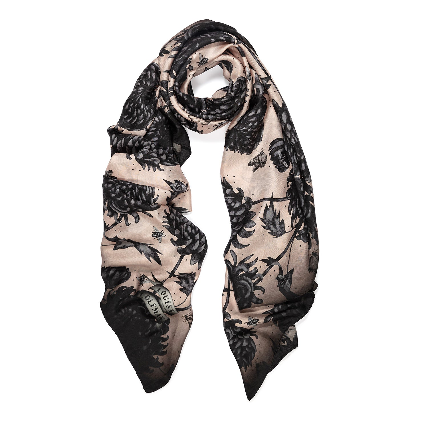 The Gure Kiku silk square scarf featuring an intricate hand illustrated floral print by Louise Coleman