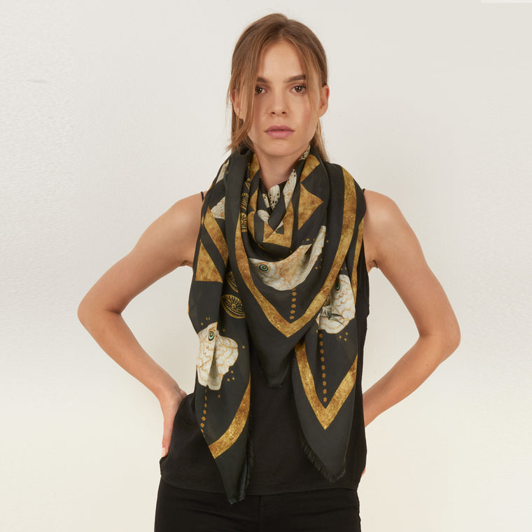 Gold Moth silk and modal blend printed square scarf by Louise Coleman