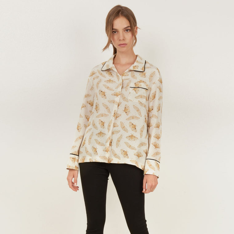 Ivory Moth silk button down PJ shirt featuring the delicate gold moth print by Louise Coleman