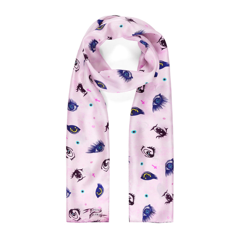 Kawaii Eyes Silk Skinny Scarf