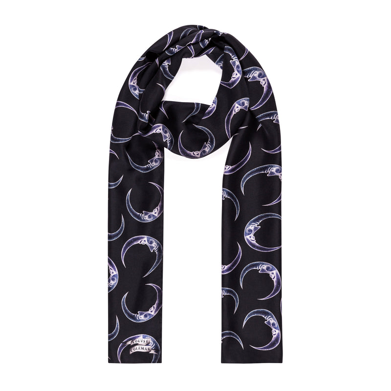 Man in the moon silk skinny scarf featuring the magical signature hand illustrated crescent moon man moon design by Louise Coleman