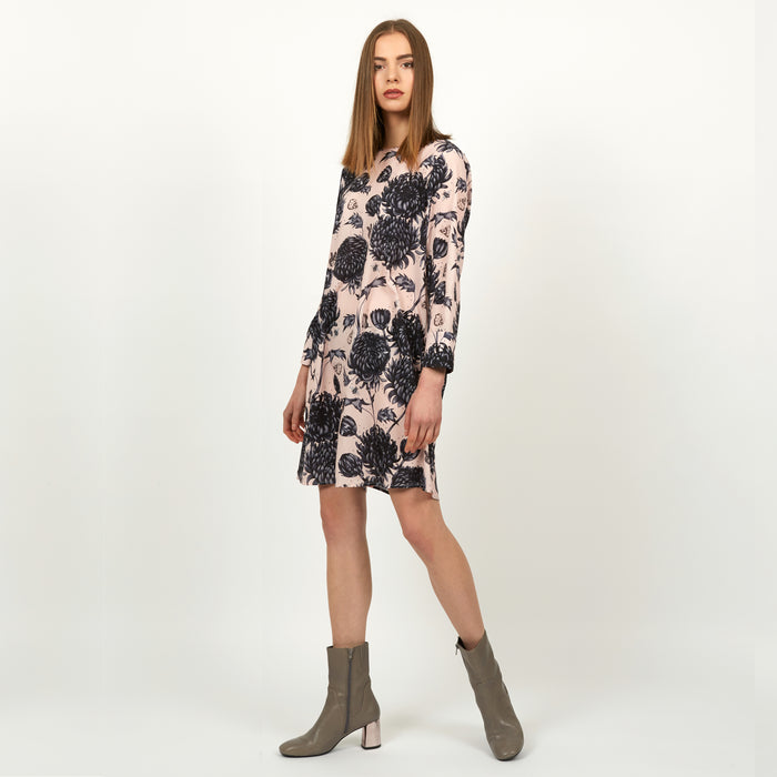 Gure Kiku LS tunic dress featuring detailed hand illustrated floral chrysanthemum print by Louise Coleman
